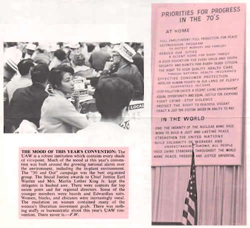 a UAW newsletter describes incorporation of environmental priorities in 1970