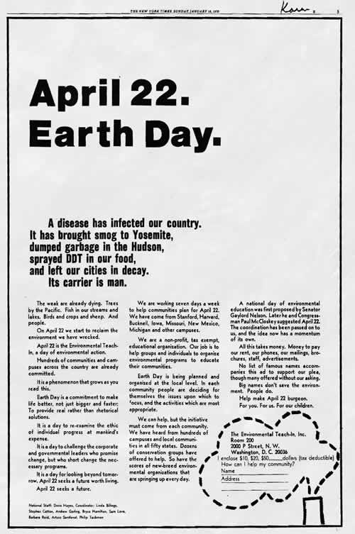 NYT advertisement by Environmental Teach-In, Inc. 1970