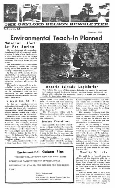 Gaylord Nelson Newsletter Nov 1969 describing Earth Day idea and how it was catching on quickly